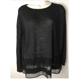 Zara w/b collection BLK blouse with sheer border M